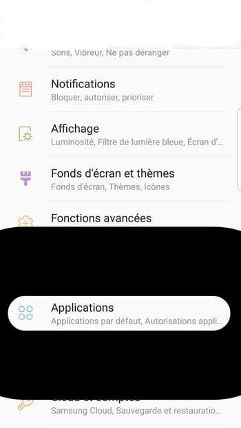 Application sur le téléphone android