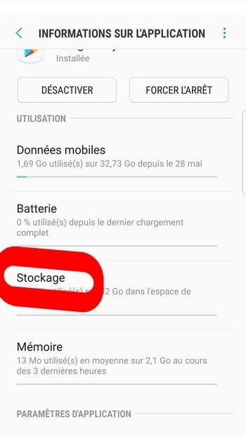 Stockage sur le téléphone android