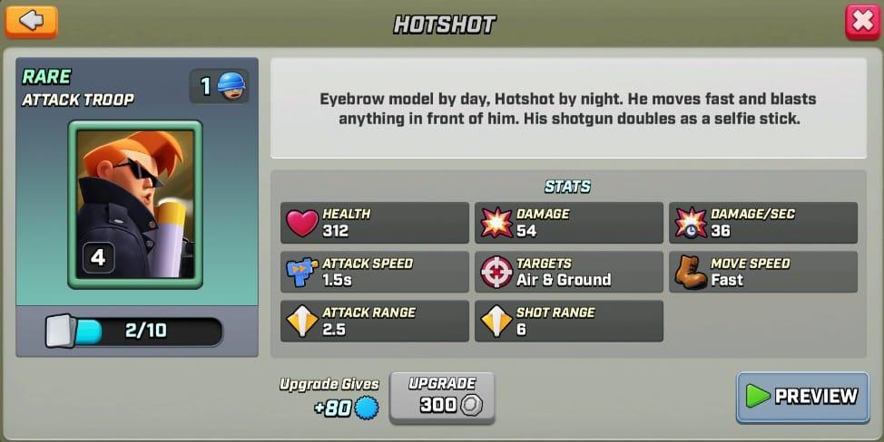 Stats du Hotshot level 4