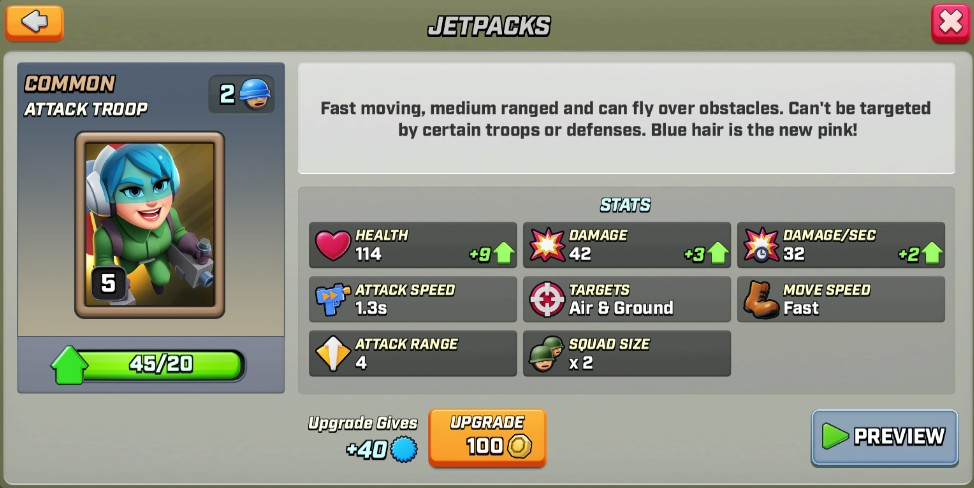 Stats du Jetpacks level 5