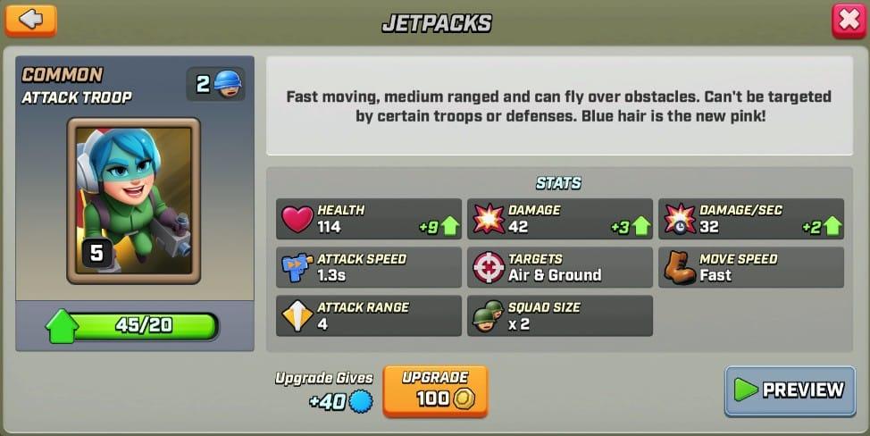 Stats du Jetpacks level 5