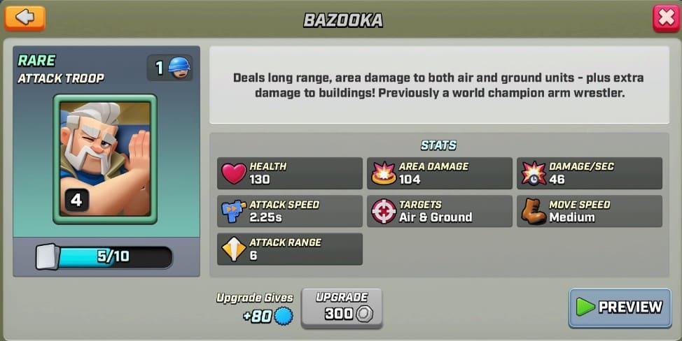 Stats du Bazooka level 4