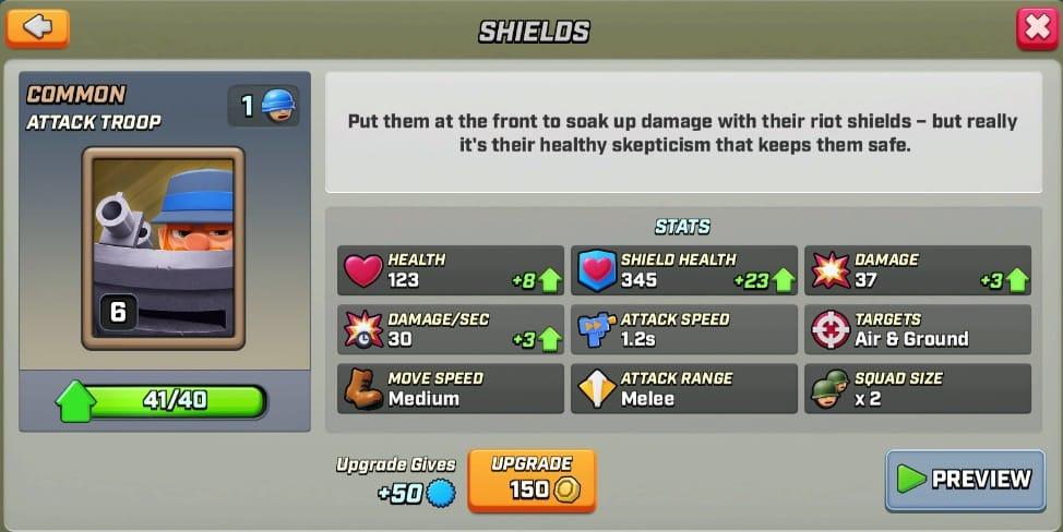 Stats du shields level 6