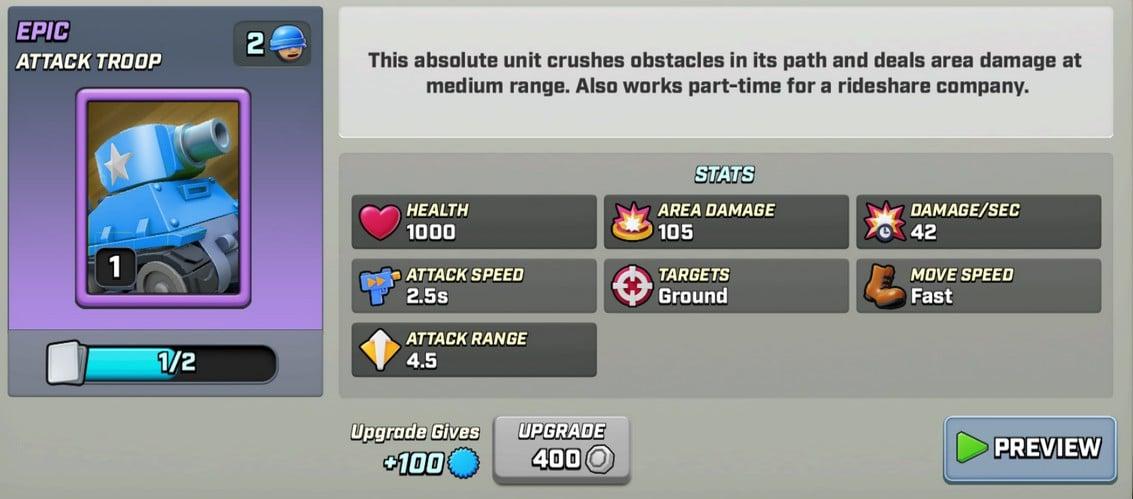 Stats du tank level 1