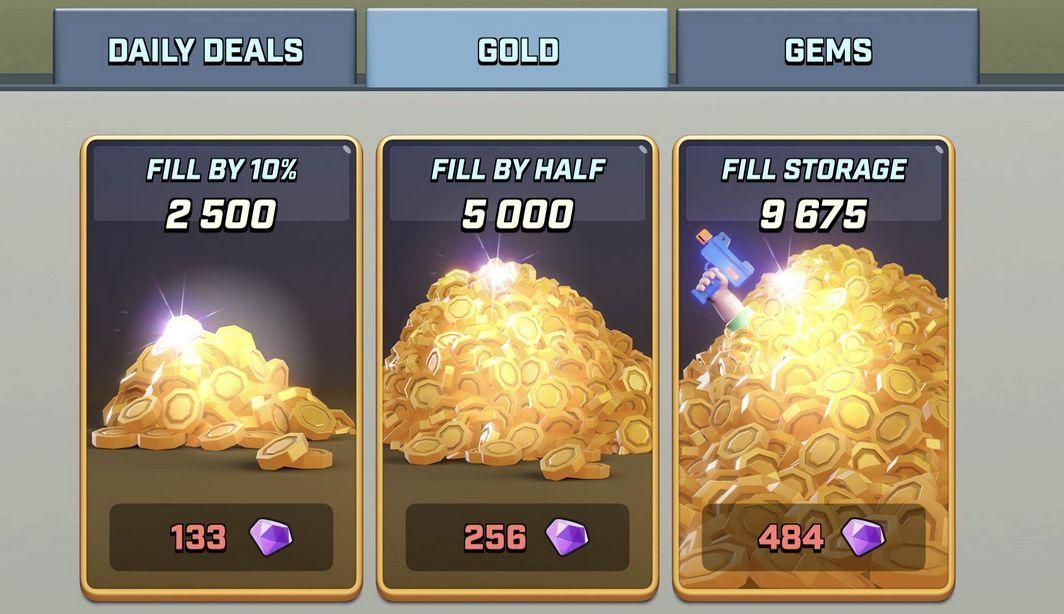Mise à jour des packs d'or sur le jeu Rush wars