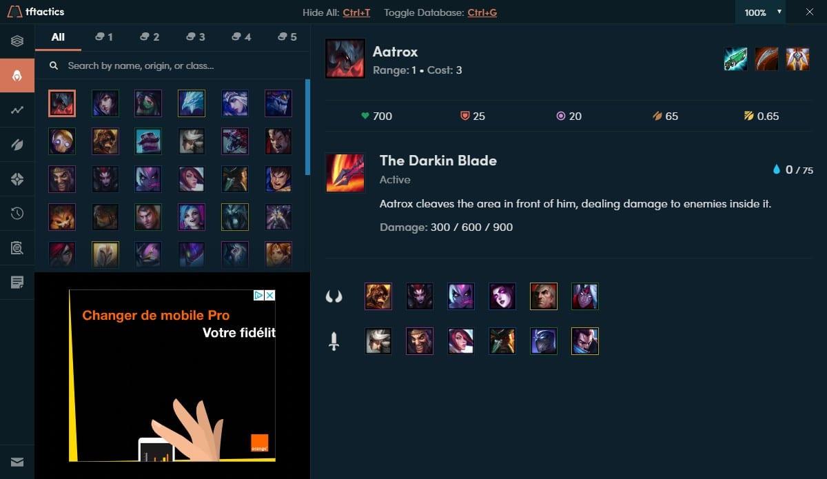 Page des persos du jeu