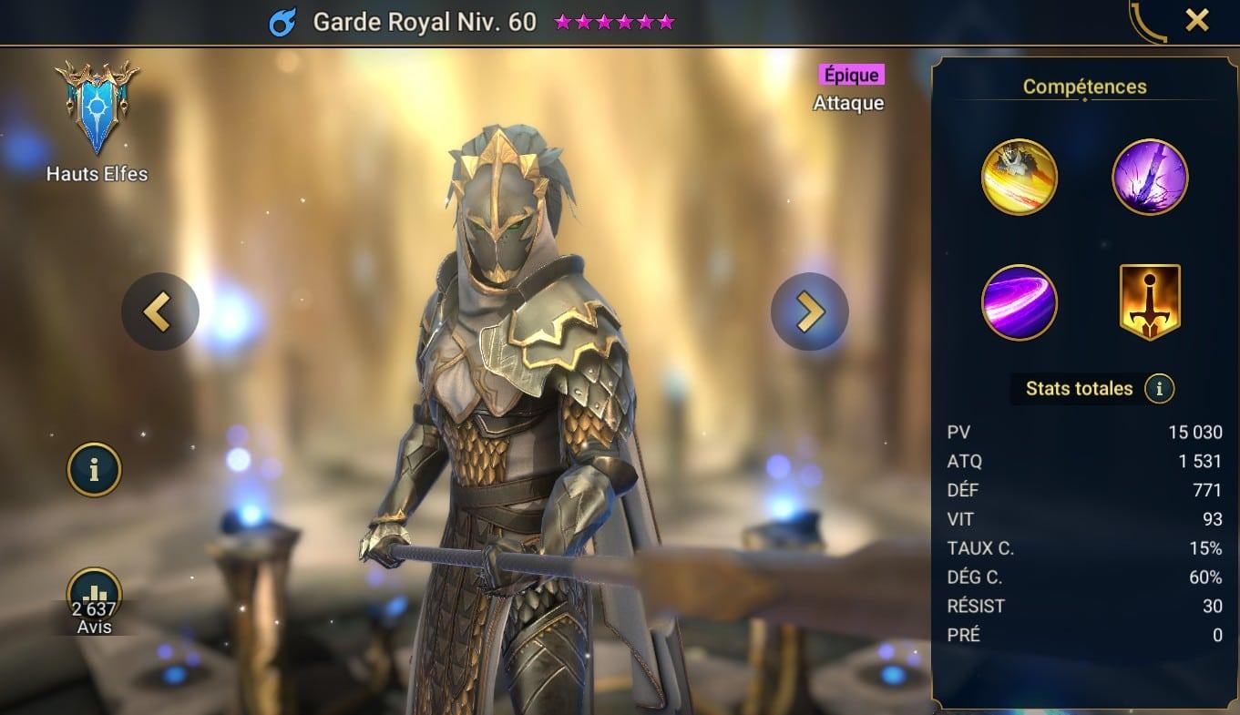 Guide maitrises et artefact sur Garde Royal dans raid shadow legend