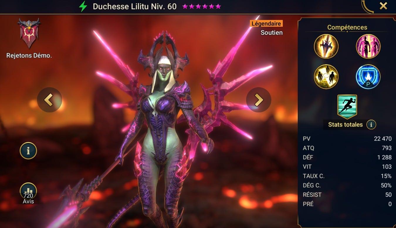 guide RSL artefact, équipement et maîtrise pour Duchesse Lilitu