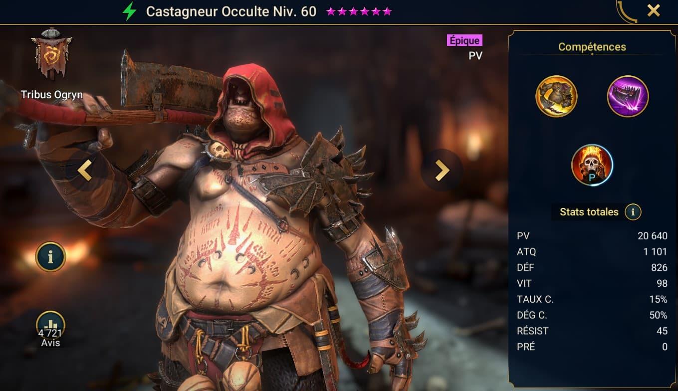 guide champion maitrises et artefact sur Castagneur Occulte