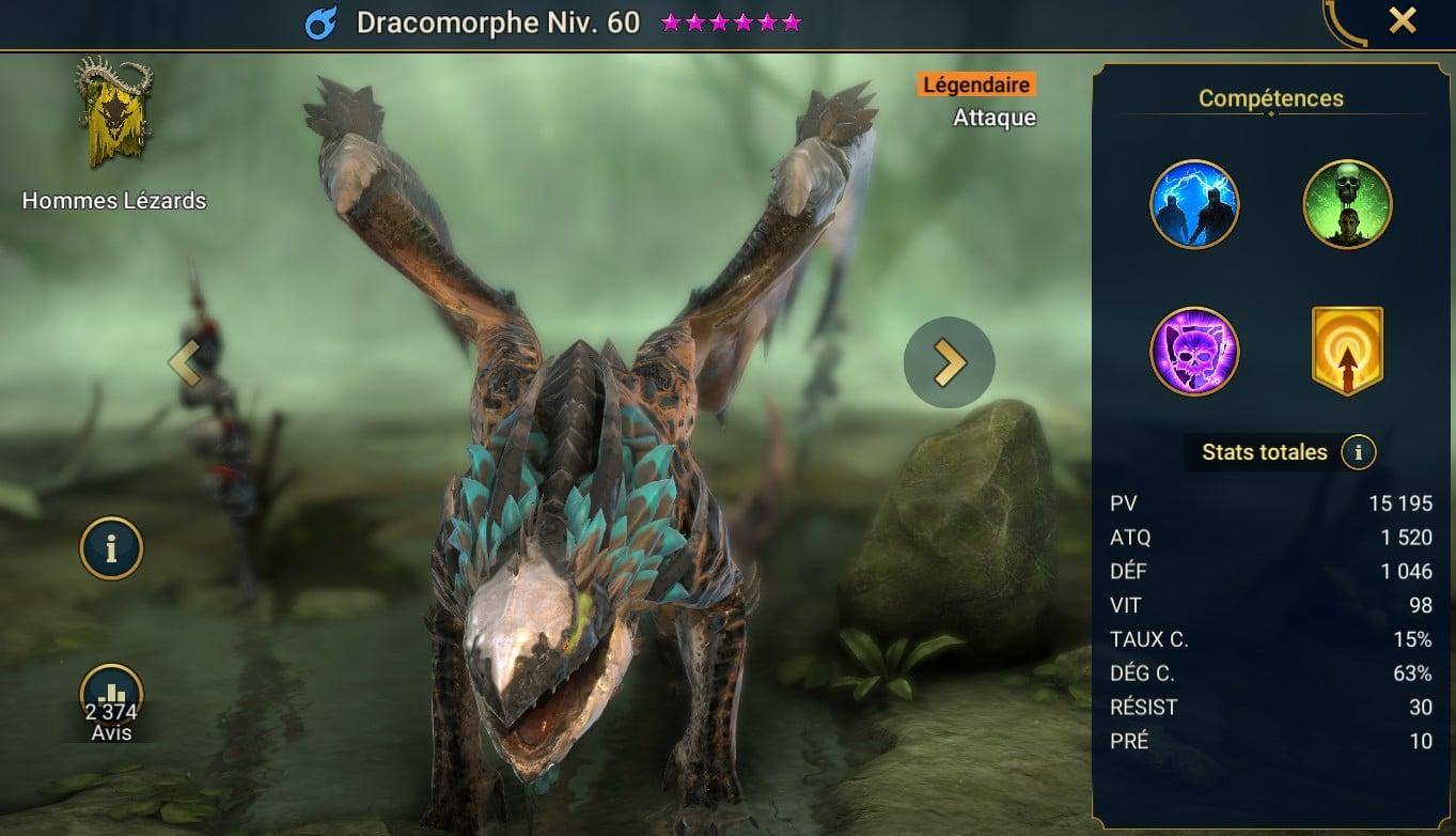 guide sur Dracomorphe, raid shadow legend artefact et maitrises