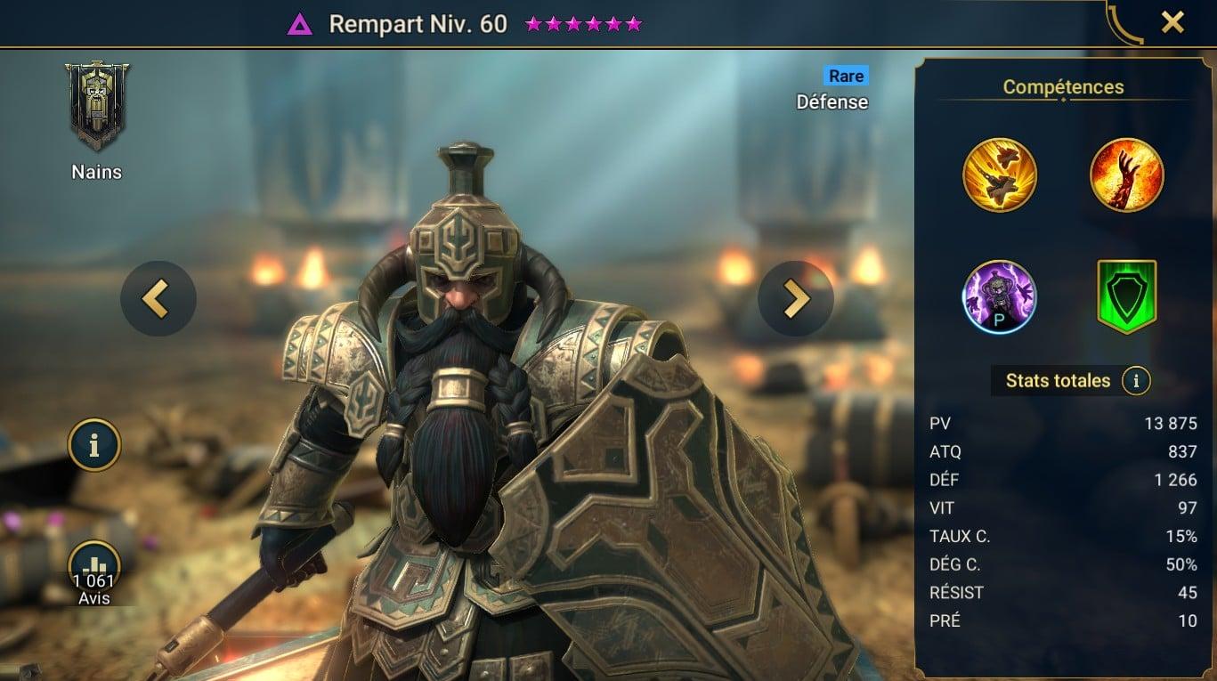 guide sur Rempart (Bulwark) maitrises et artefact