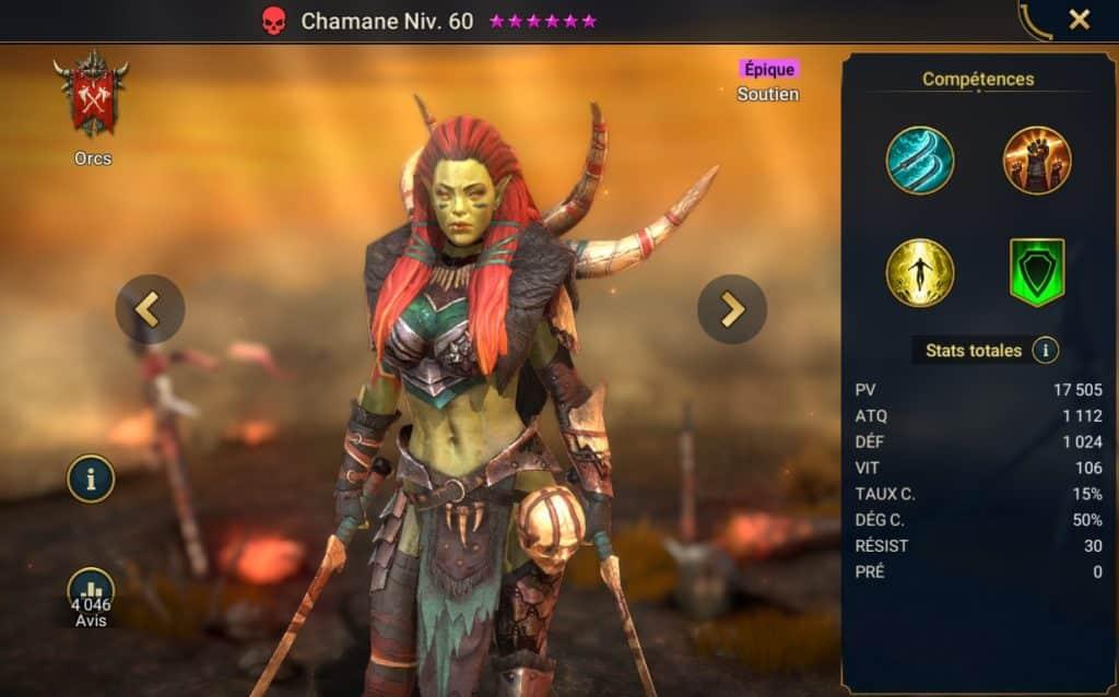 Guide sur chamane, image dans le catalogue de raid shadow legend