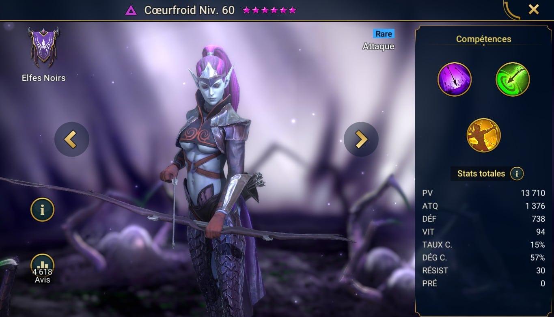 guide sur le champion de raid shadow legend CoeurFroid (Coldheart) maitrises et artefact