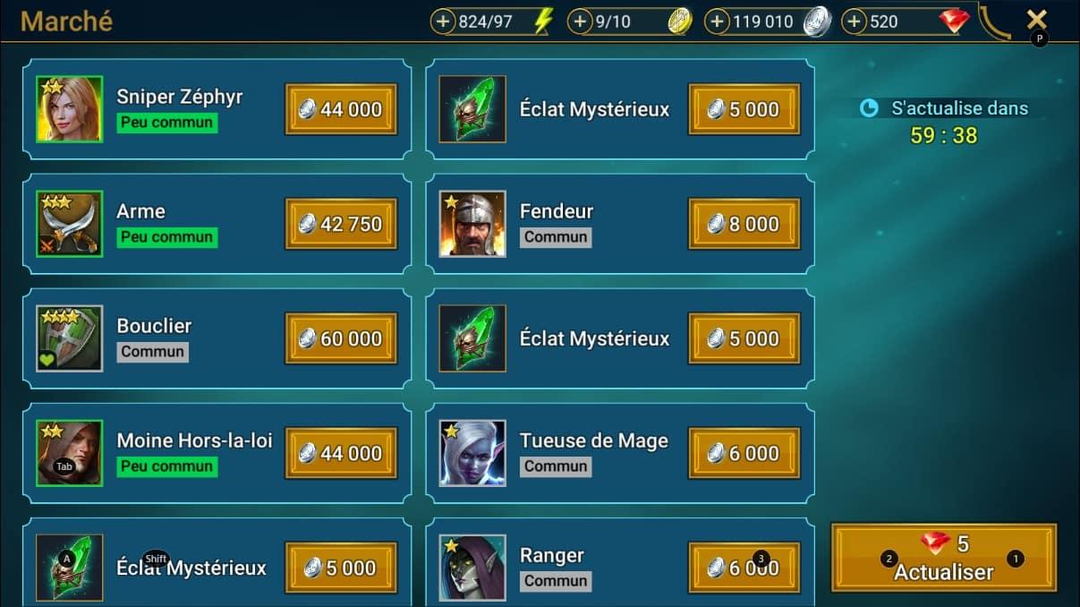 le marché sur le jeu raid shadow legend