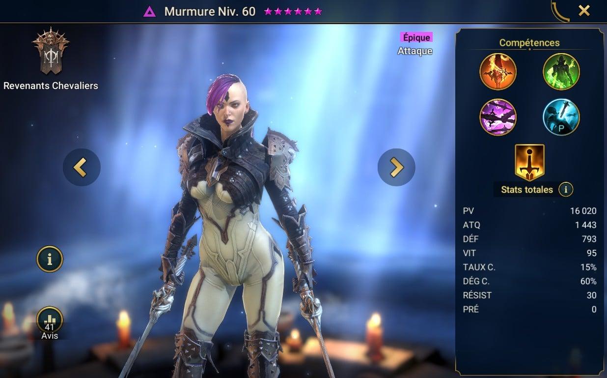 Guide personnage Raid shadow legend : Murmure (whisper)