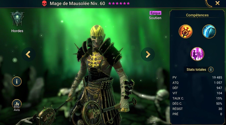 guide artefact et maitrises pour Mage de Mausolée (Mausoleum Mage)
