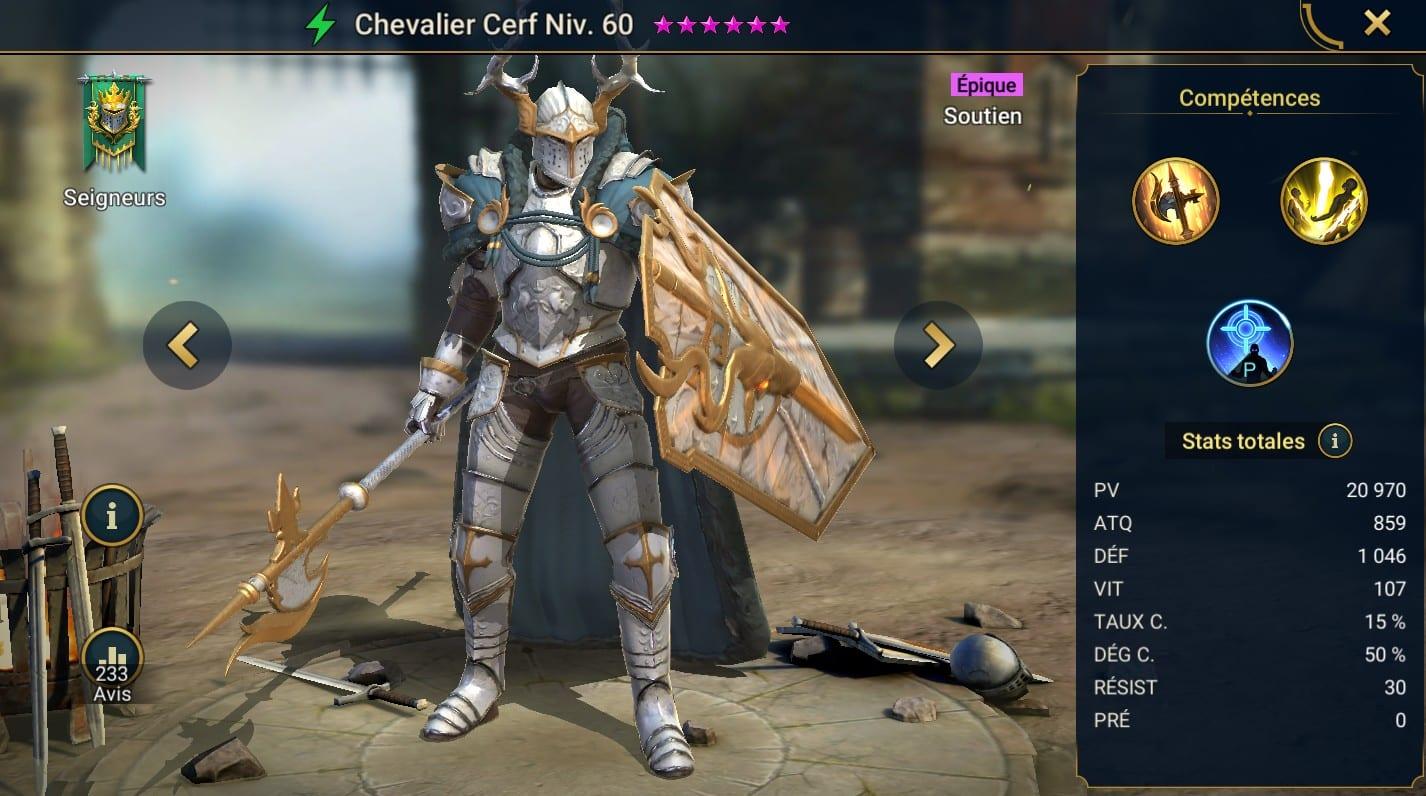 guide maitrises et artefact pour Chevalier Cerf (Stag Knigh)