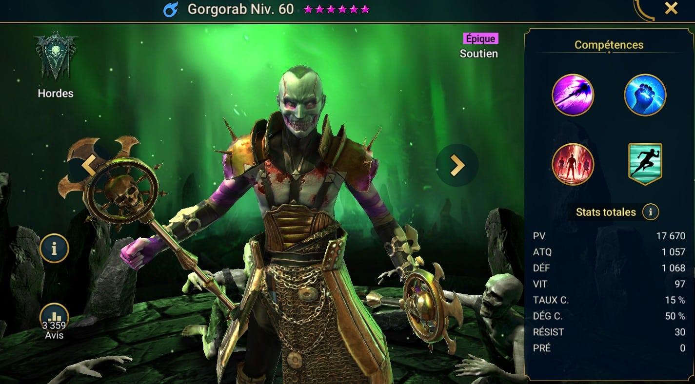 guide maitrises et artefact pour Gorgorab