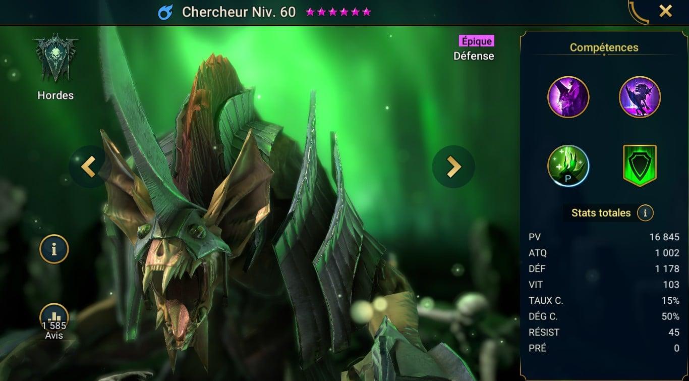 guide maitrises et artefact pour le monstre Chercheur (seeker)