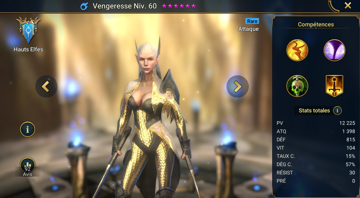 guide pour Vengeresse (Avenger) maitrises et artefact