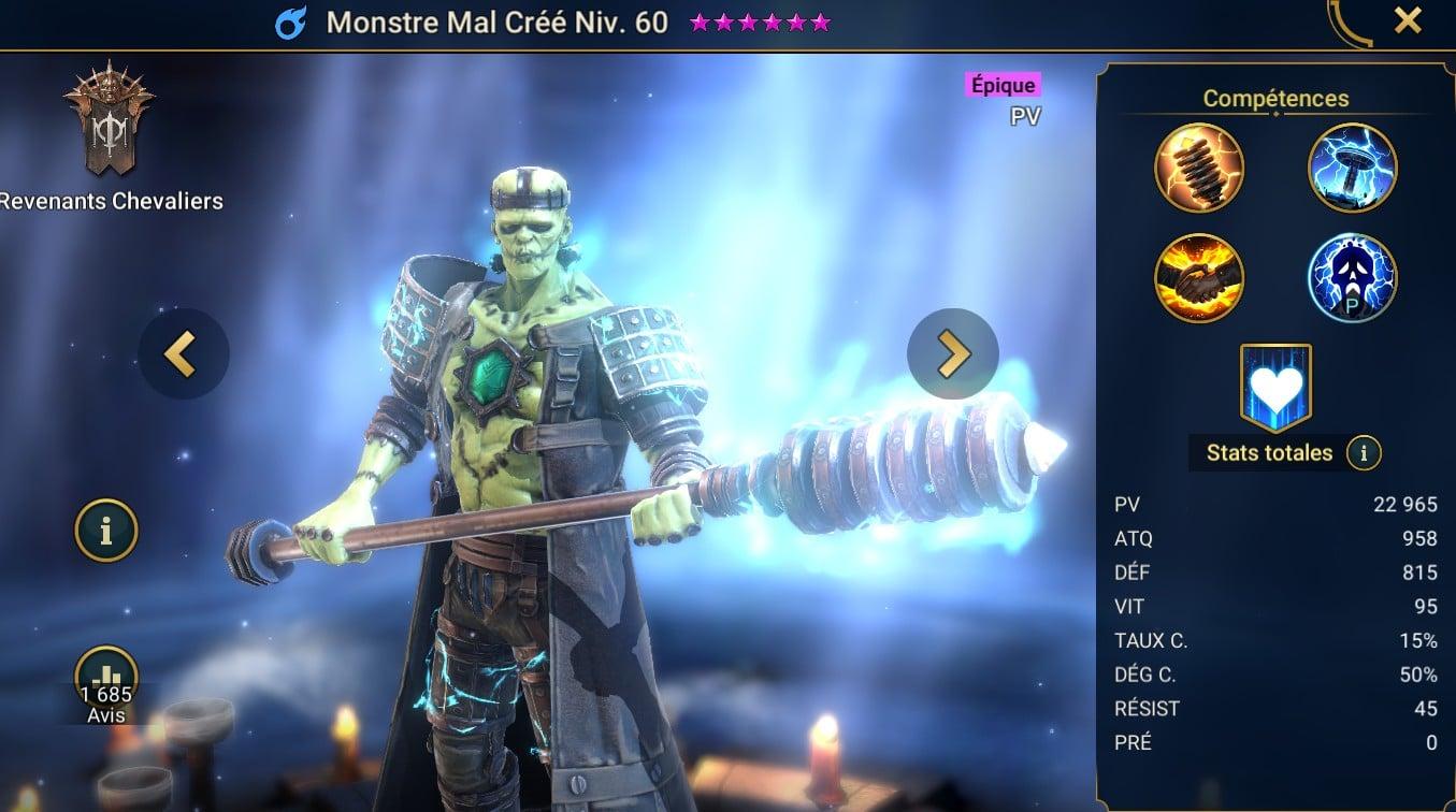 guide sur Monstre Mal créé
