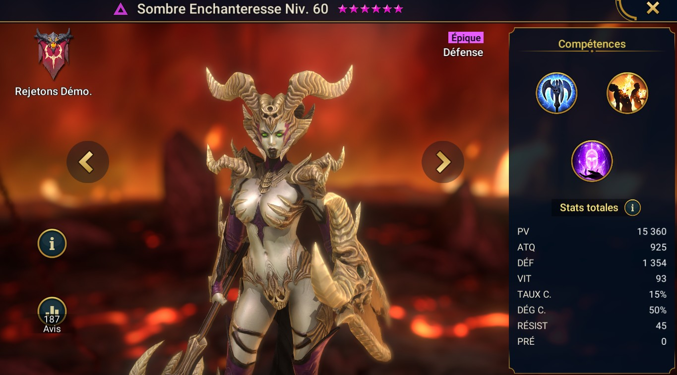 guide sur Sombre Enchanteresse (Umbreal Enchantress) maitrises et artefact