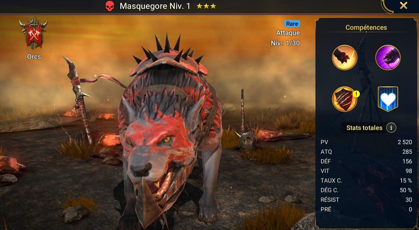 guide maitrises et artefact Masquegore (Goremask)