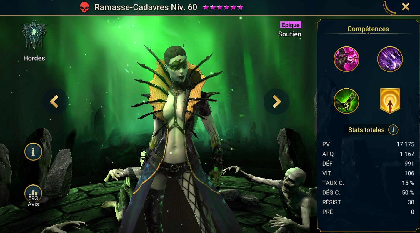 guide maitrises et artefact Ramasse-Cadavres (Corpse Collector)