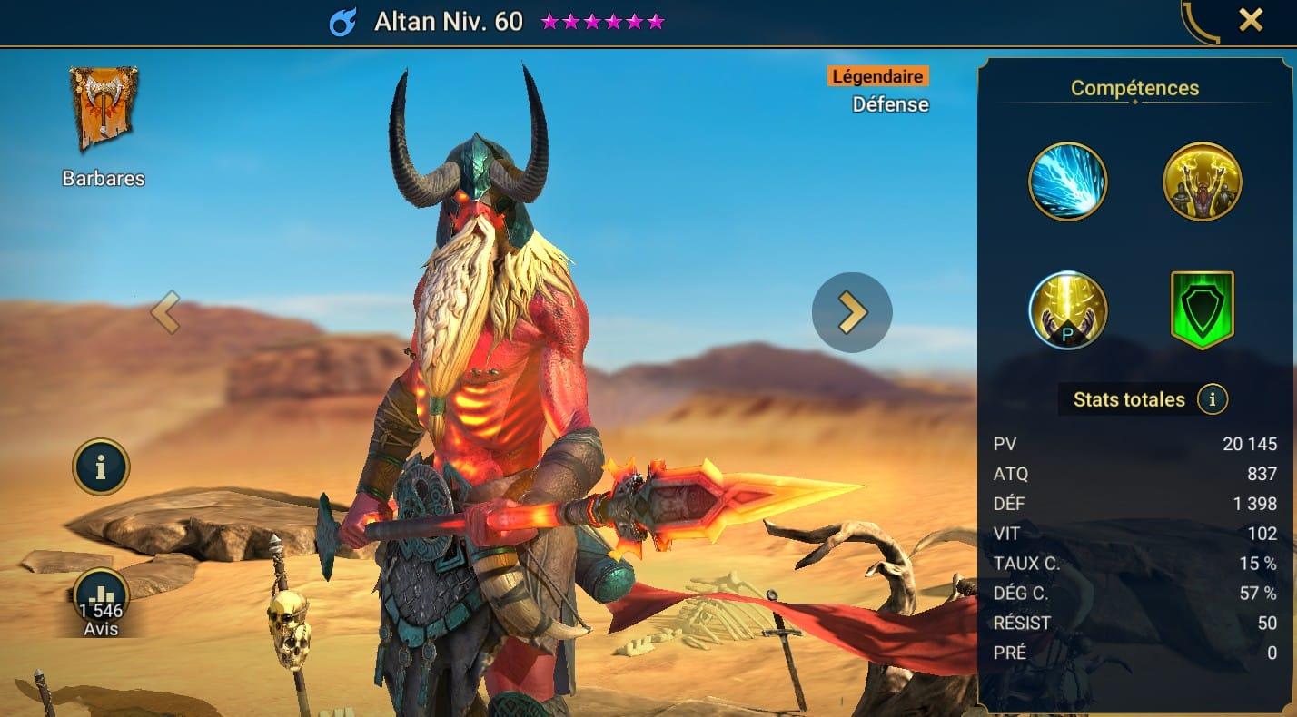 guide maitrises et artefact pour Altan