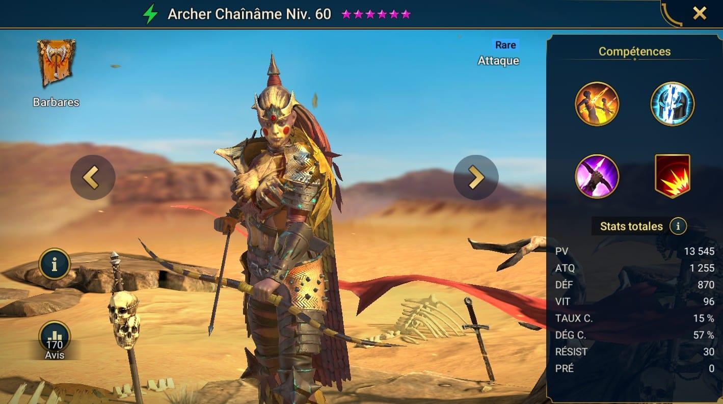 guide maitrises et artefact pour Archer Chaînâme (Soulbond Bowyer)
