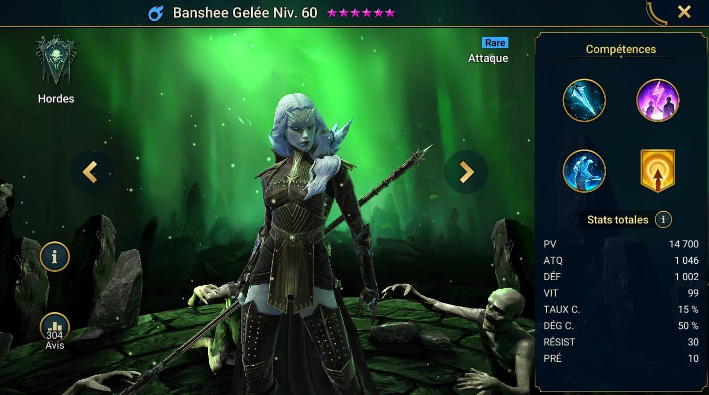 guide maitrises et artefact pour Banshee Gelée (Frozen Banshee)