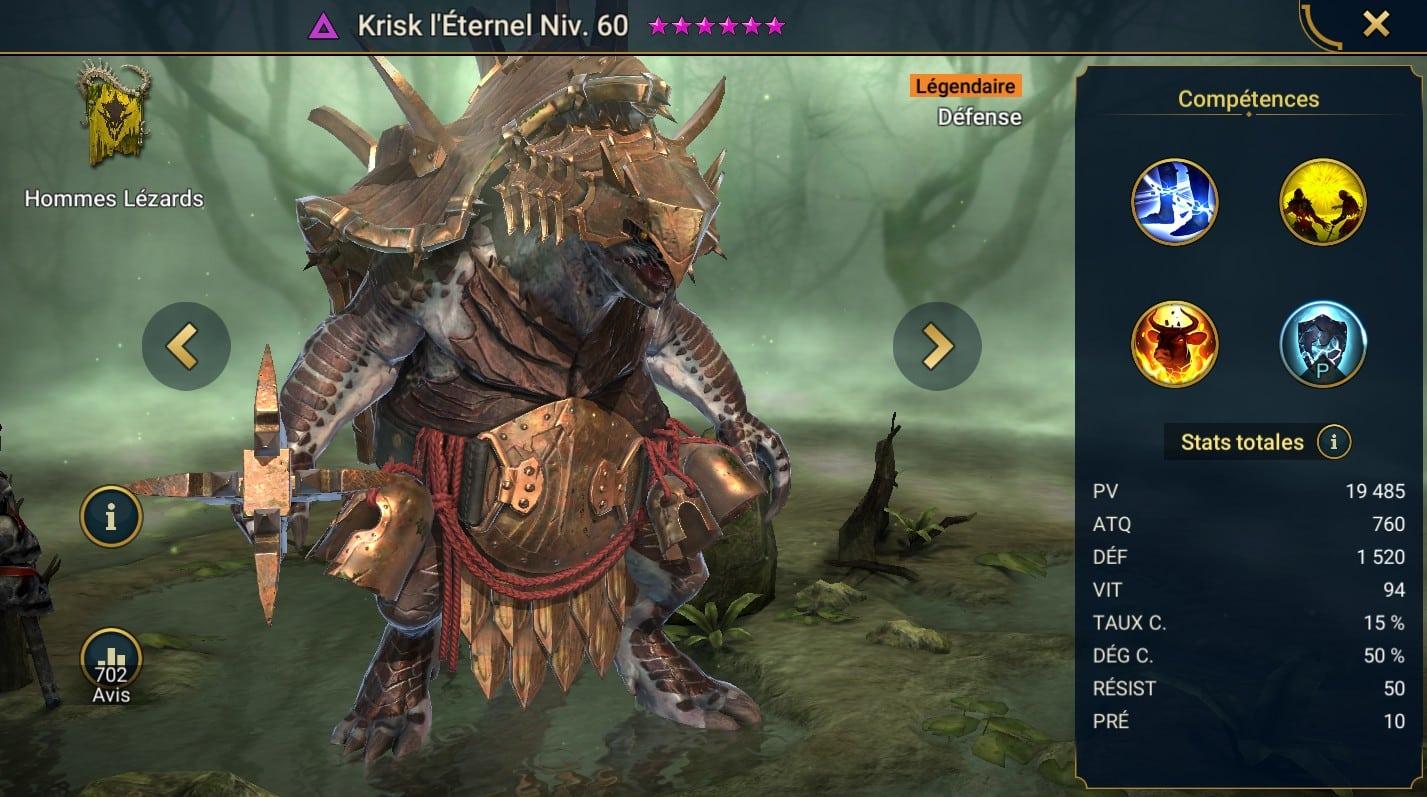 guide maitrises et artefact pour Krisk l'Éternel