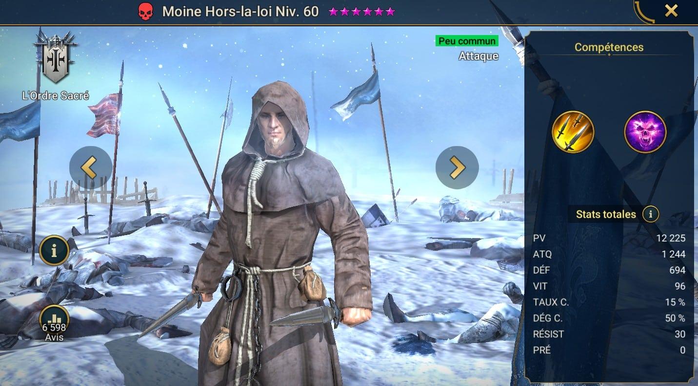 guide maitrises et artefact pour Moine Hors-la-loi (Outlaw Monk)