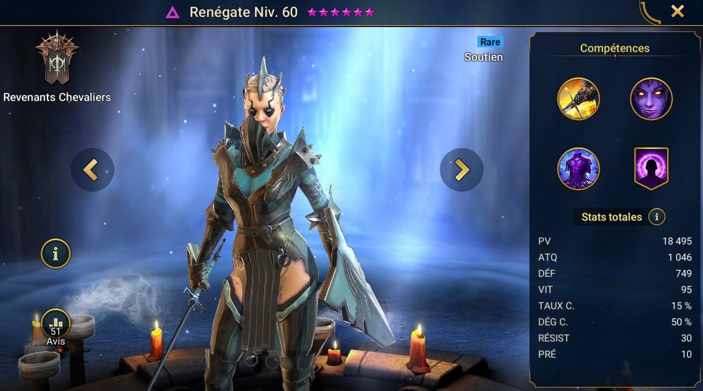 guide maitrises et artefact pour Renégate (Renegade)