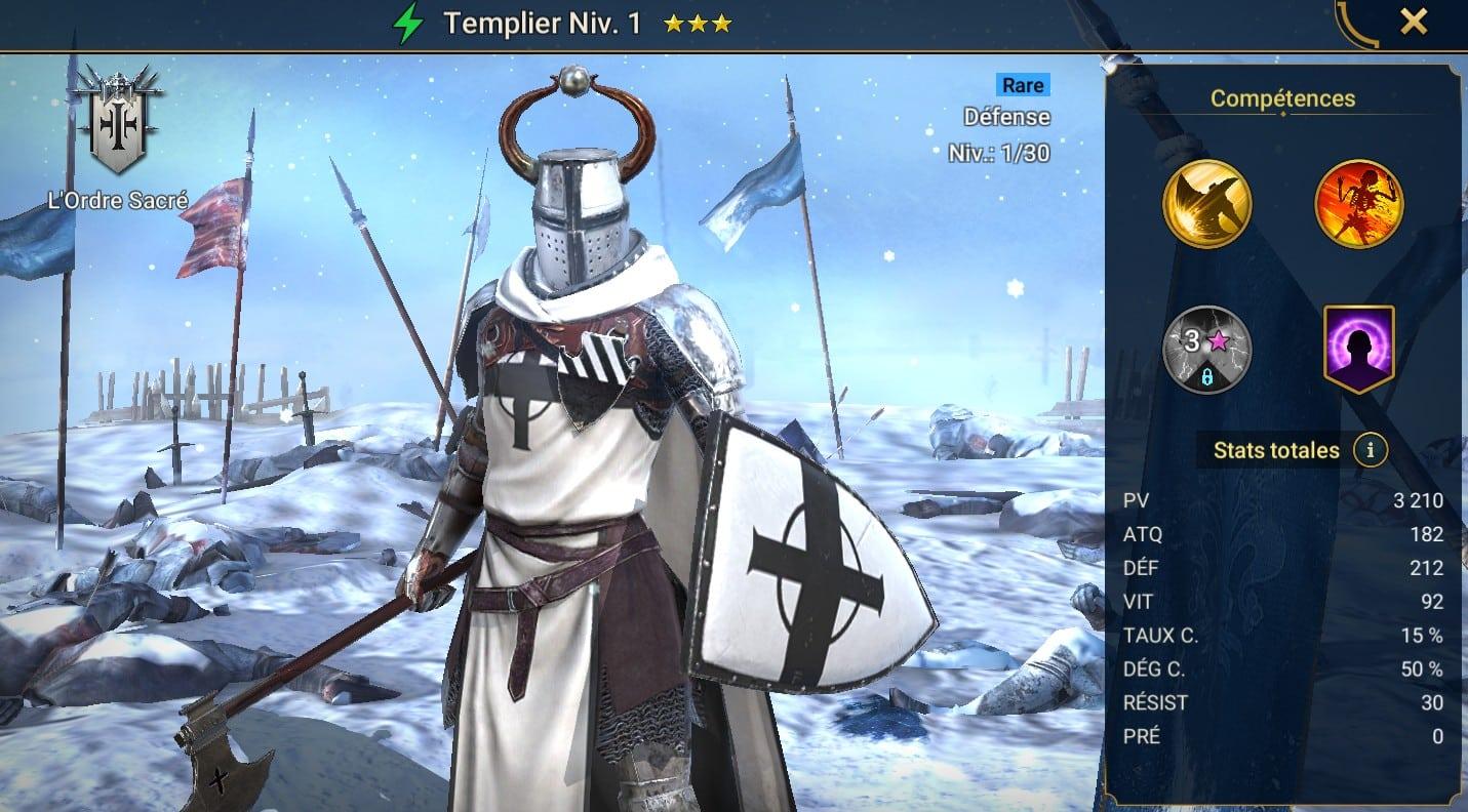 guide maitrises et artefact pour Templier (Templar)