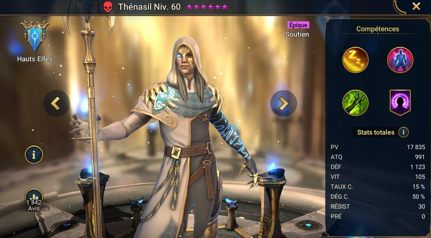 guide maitrises et artefact pour Thénasil