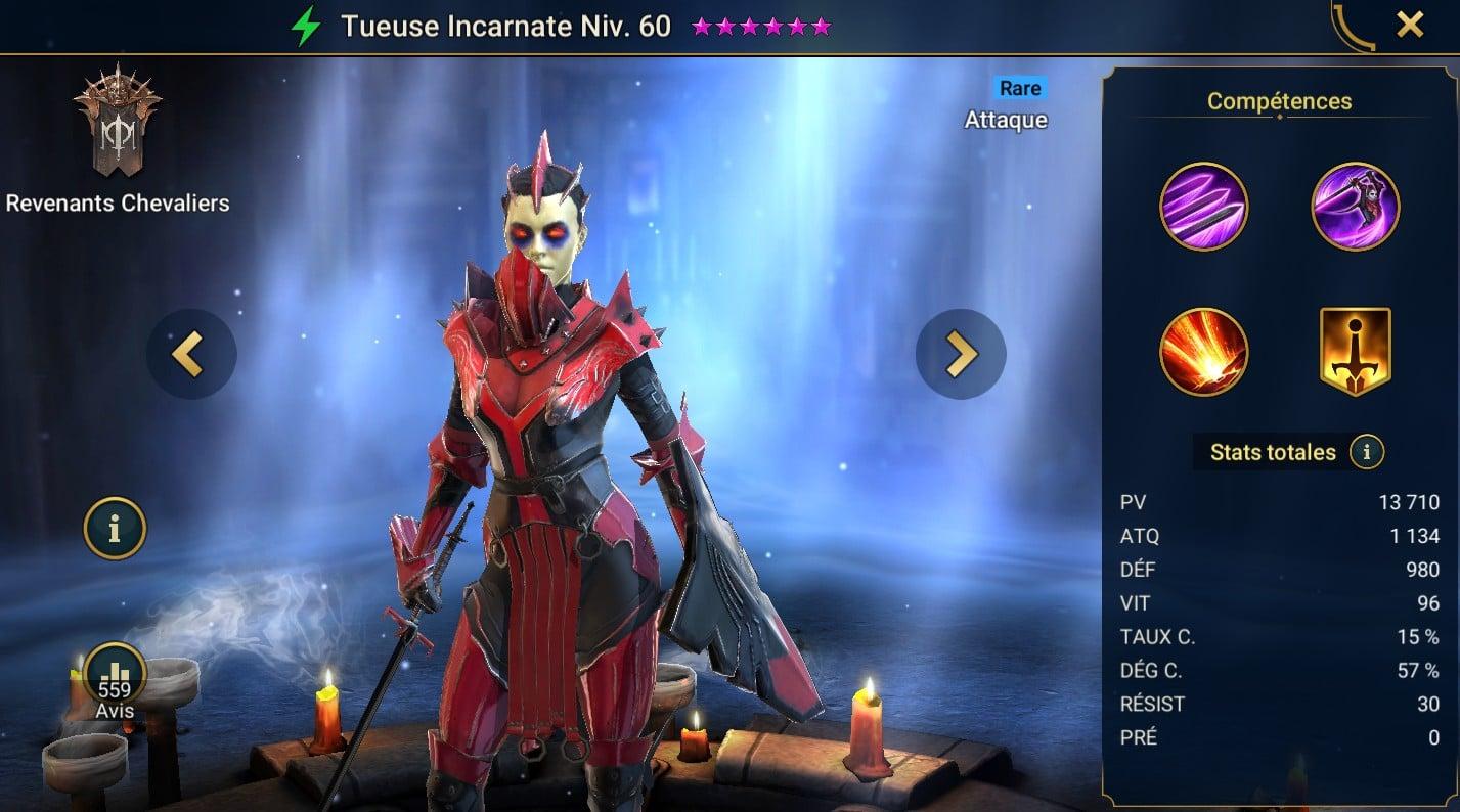 guide maitrises et artefact pour Tueuse Incarnate (Crimson Slayer)