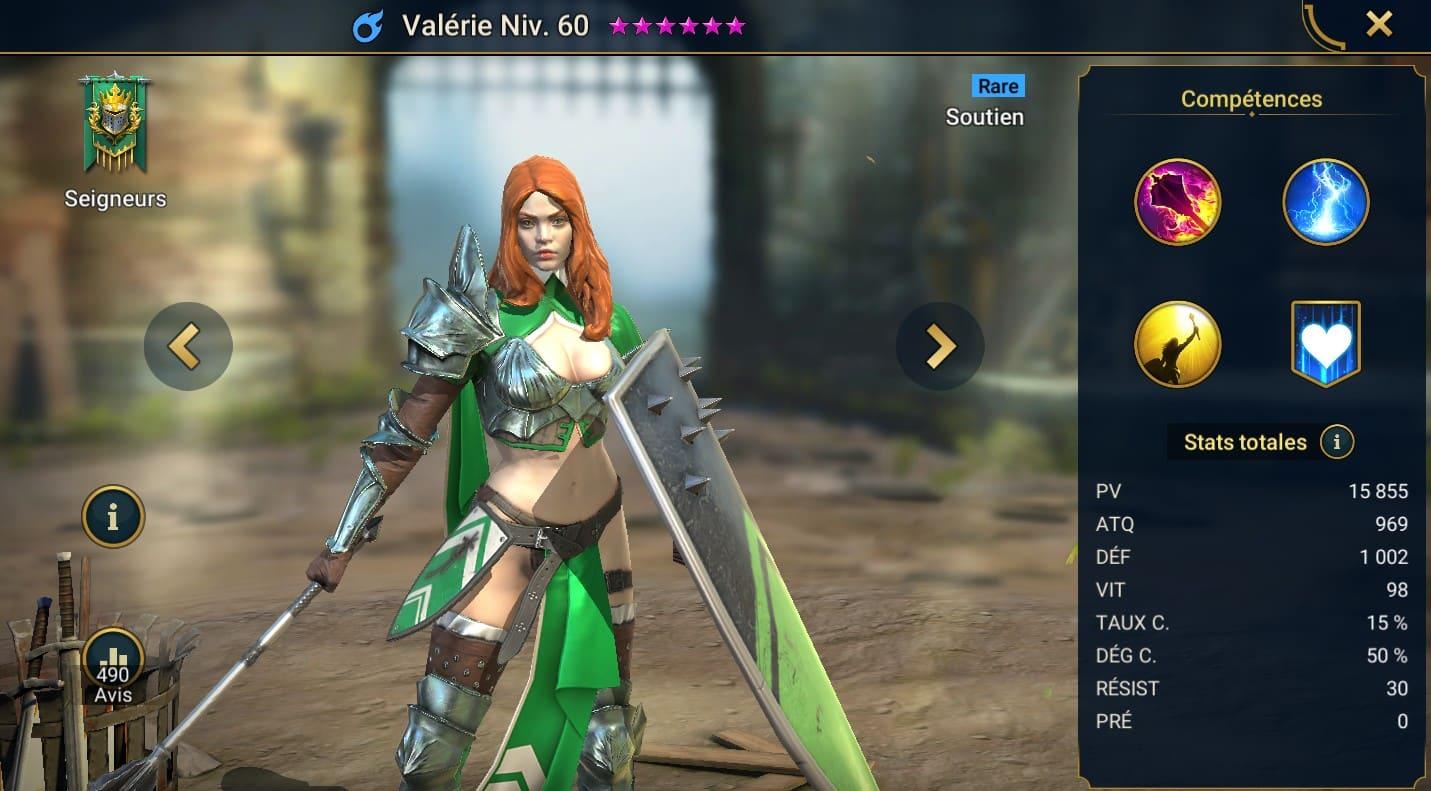 guide maitrises et artefact pour Valerie