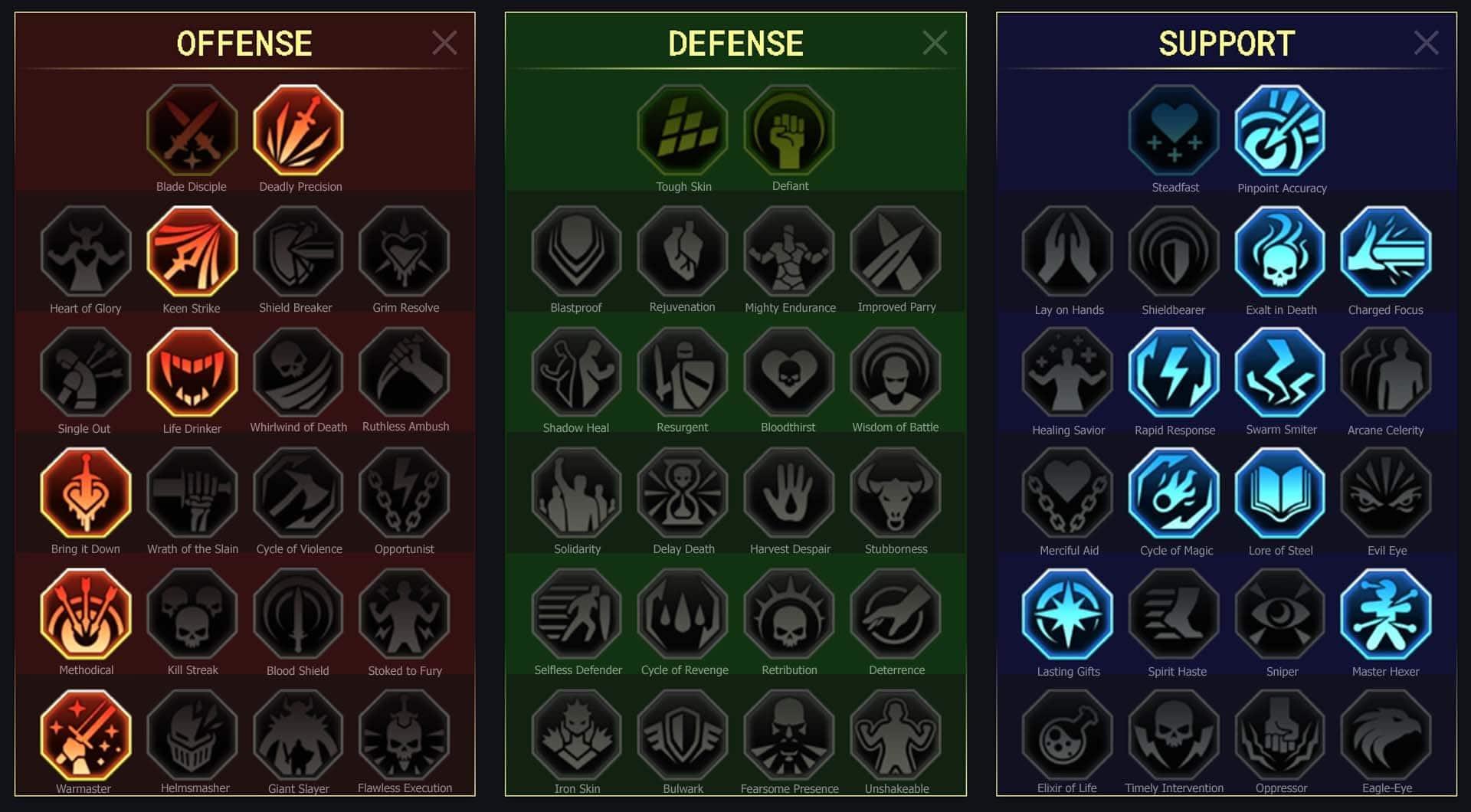 maitrises pour Gardien (Warden)