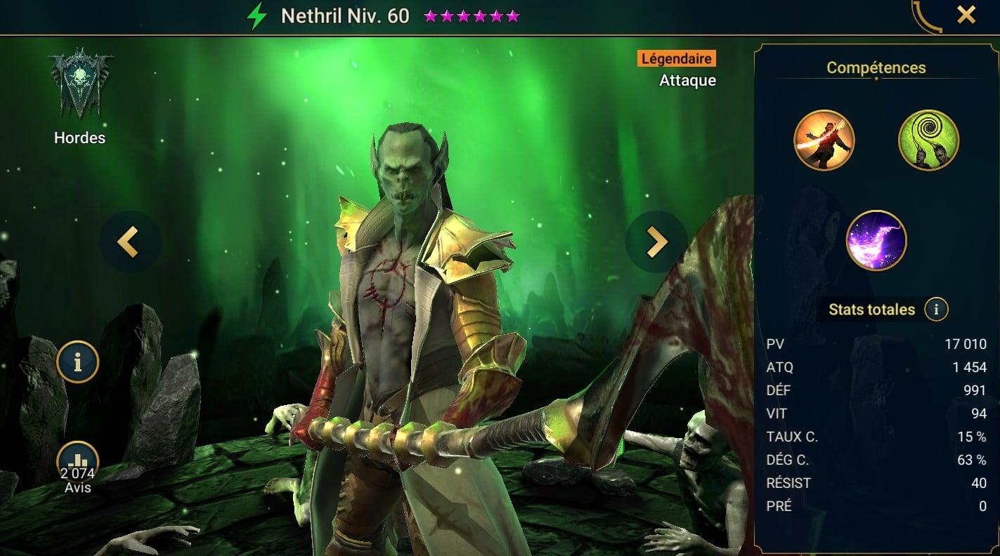 guide maitrises et artefact Nethril