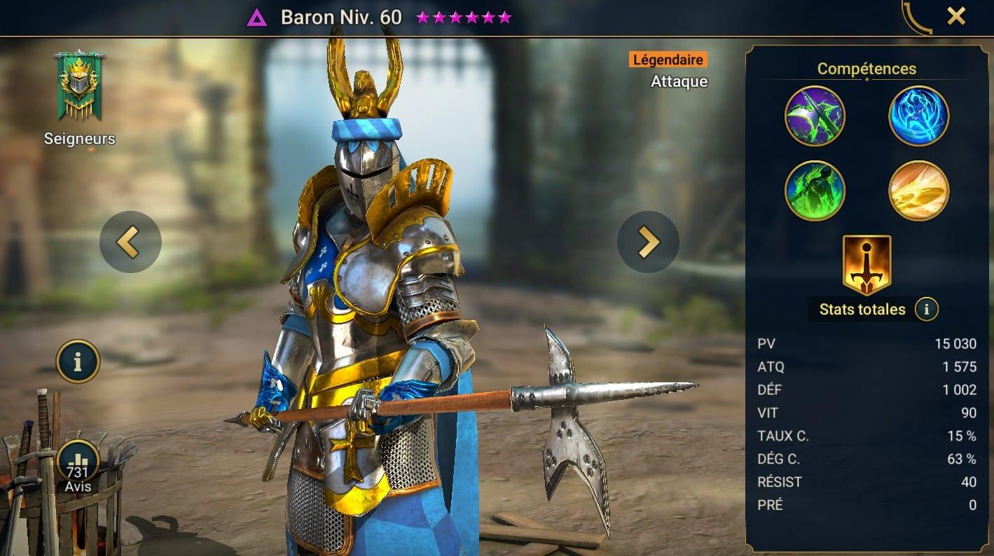 guide maitrises et artefact pour Baron