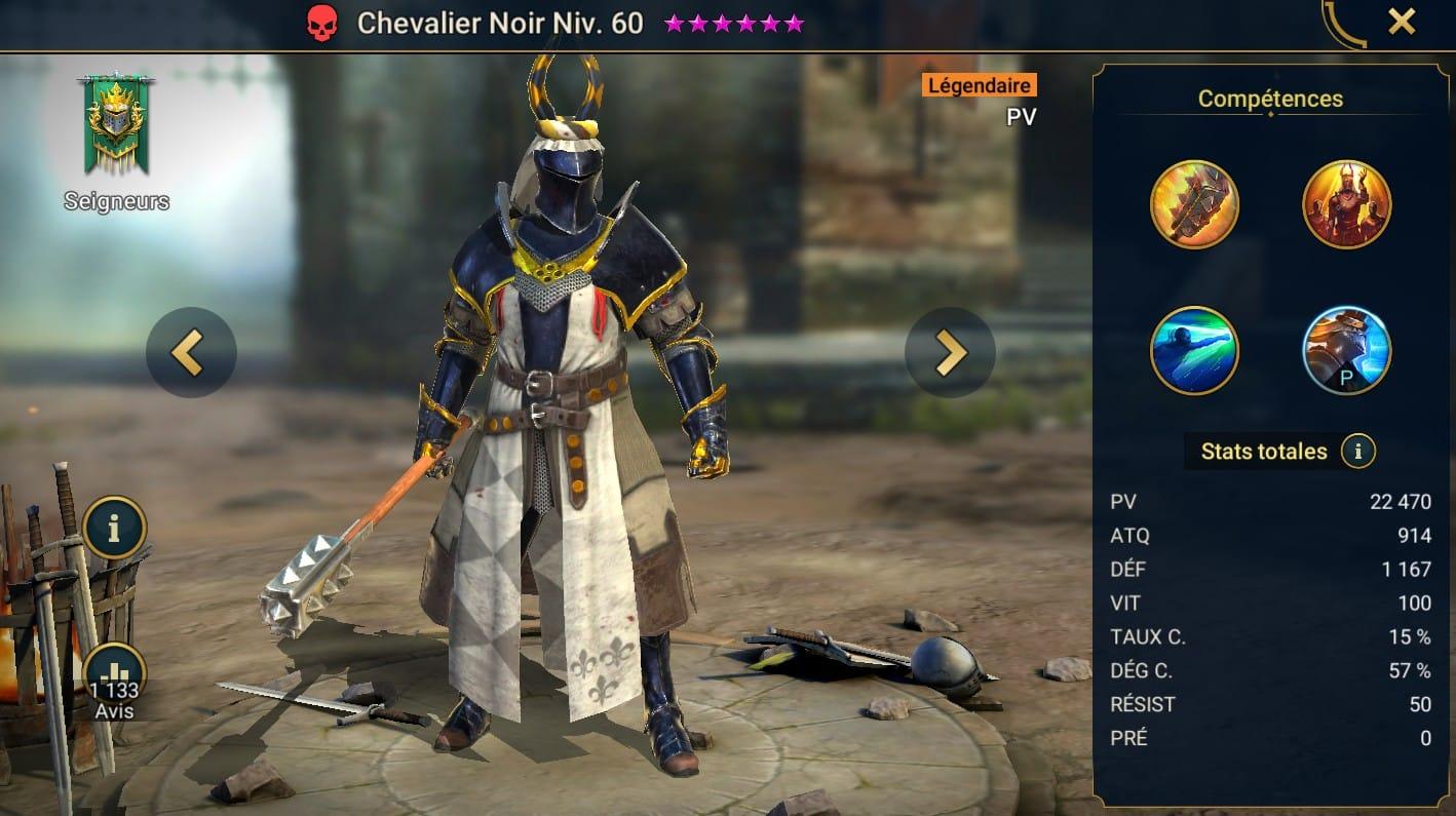 guide maitrises et artefact pour Chevalier noir (Black Knight)