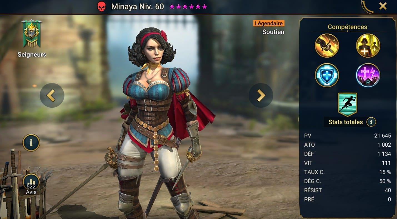 guide maitrises et artefact pour Minaya