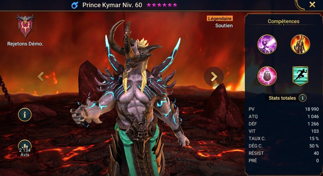 guide maitrises et artefact pour Prince Kymar