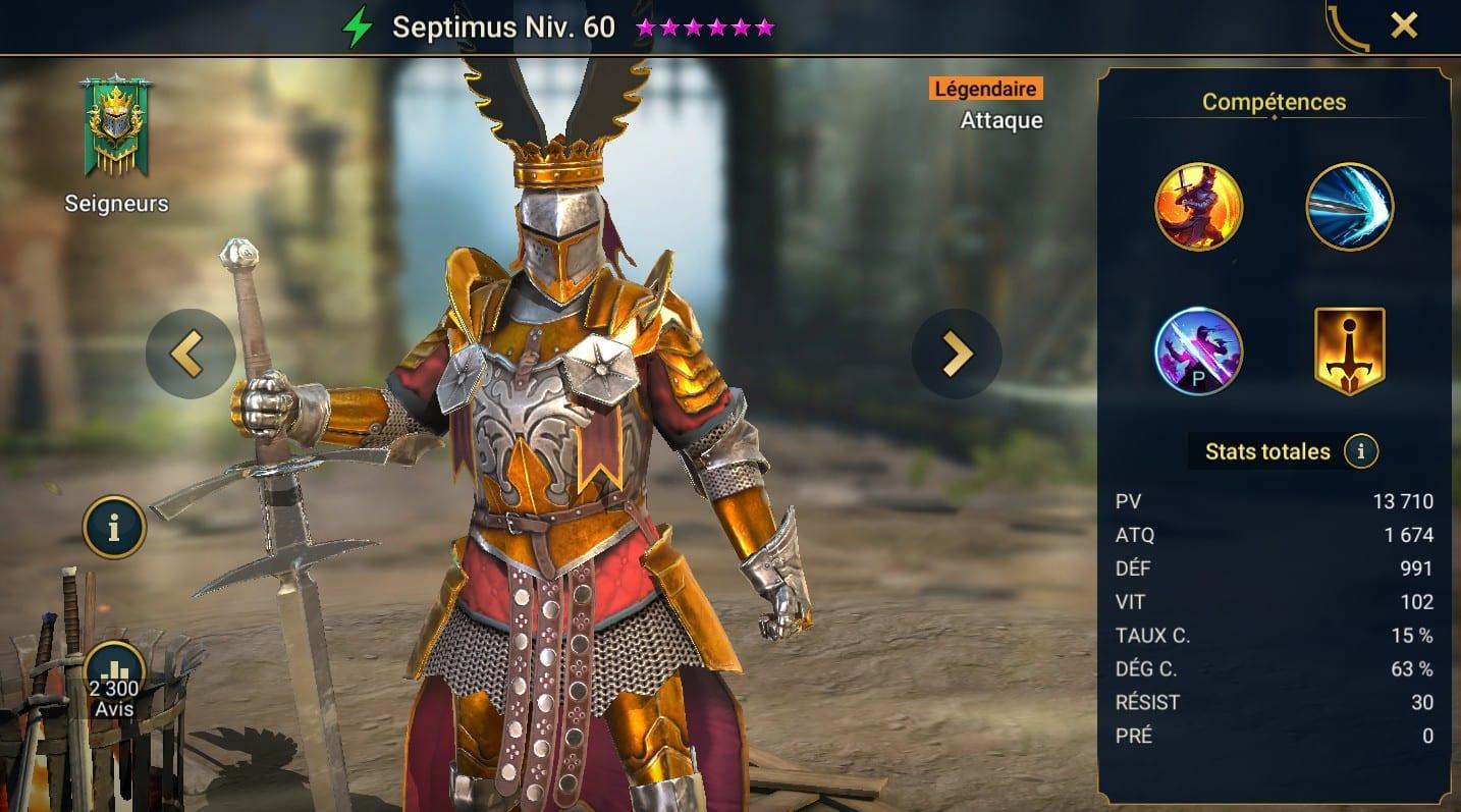 guide maitrises et artefact pour Septimus