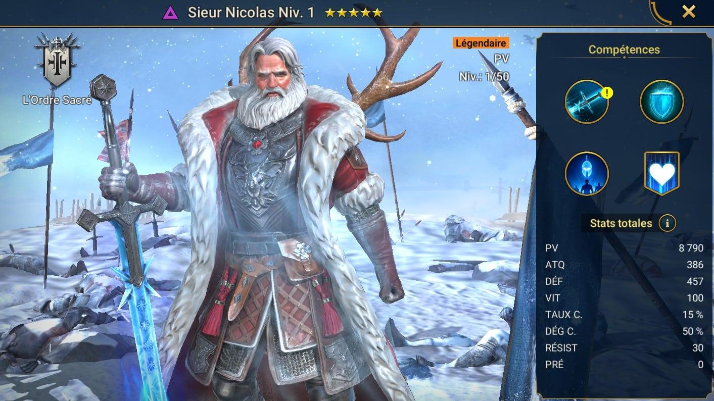 guide maitrises et artefact pour Sieur Nicolas (Sir Nicholas)