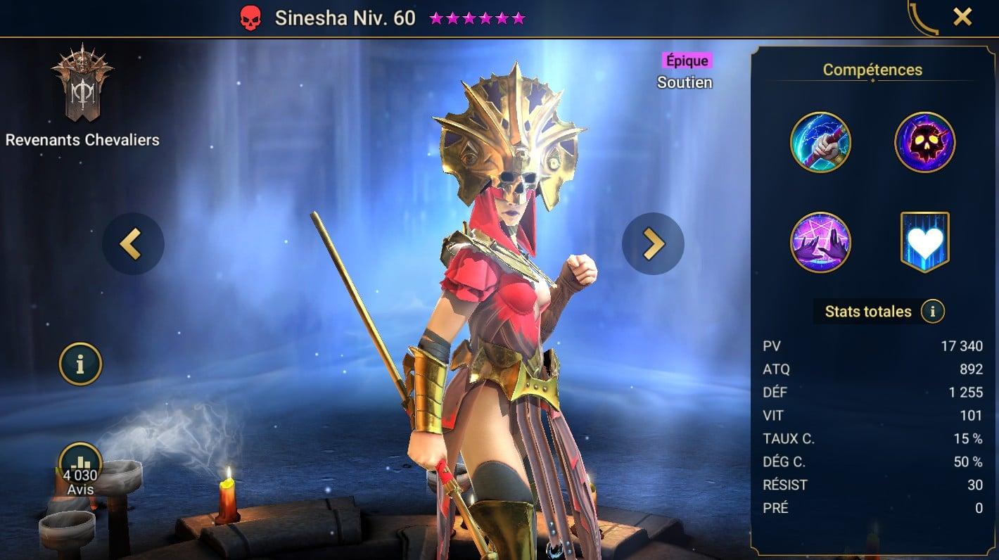 guide maitrises et artefact pour Sinesha