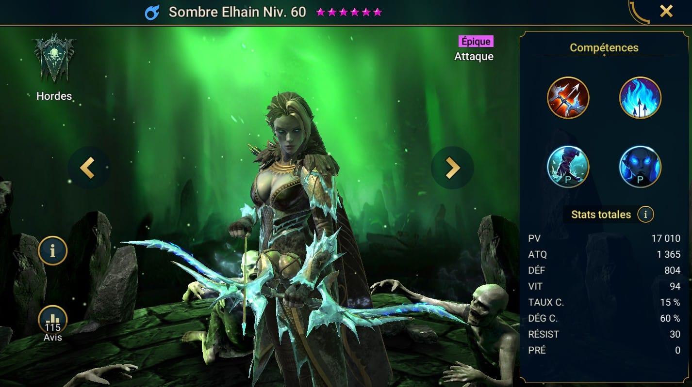 guide maitrises et artefact pour Sombre Elhain (Dark Elhain)