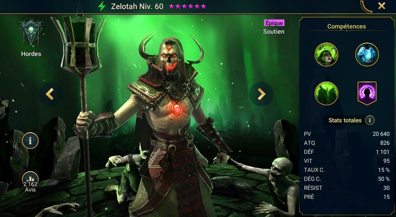 guide maitrises et artefact pour Zelotah
