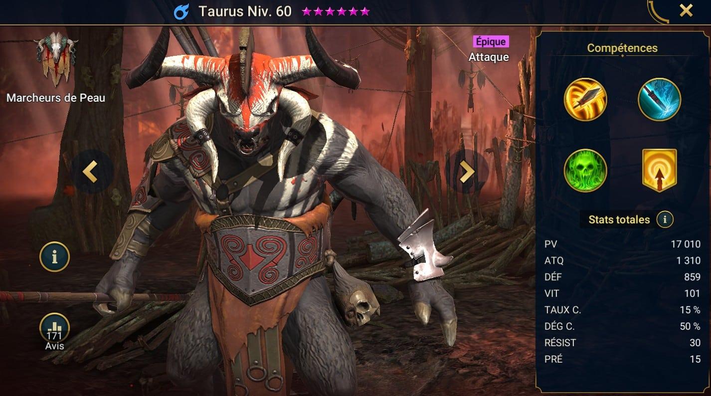 Guide maîtrises et artefact sur Taurus